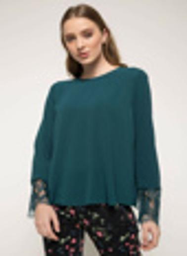 DeFacto Kolları Dantel Detaylı Bluz Yeşil